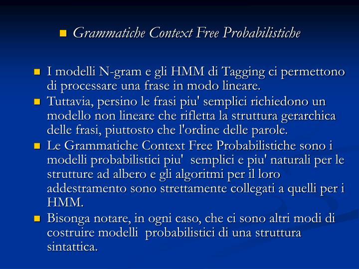Grammatiche Context Free Probabilistiche