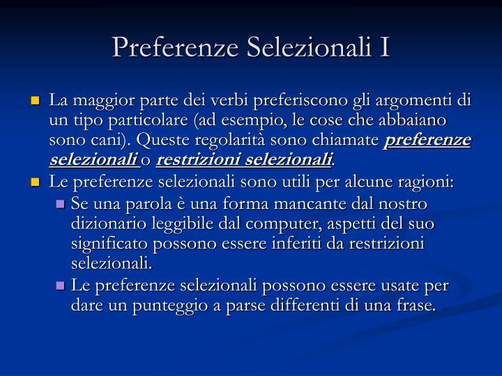 Preferenze Selezionali I
