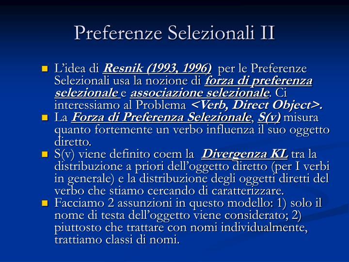 Preferenze Selezionali II