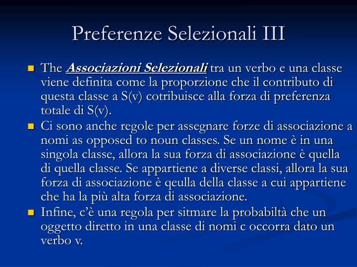 Preferenze Selezionali III