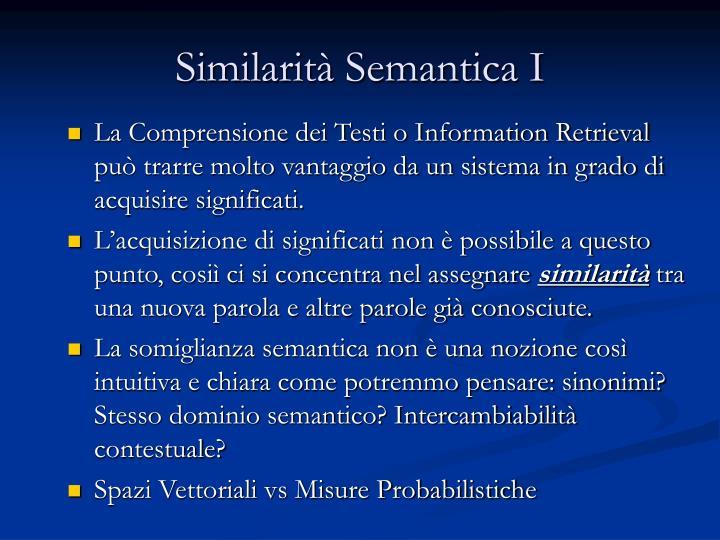 Similarità Semantica I