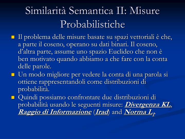Similarità Semantica II: Misure Probabilistiche