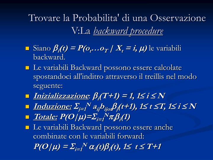 Trovare la Probabilita' di una Osservazione V:La