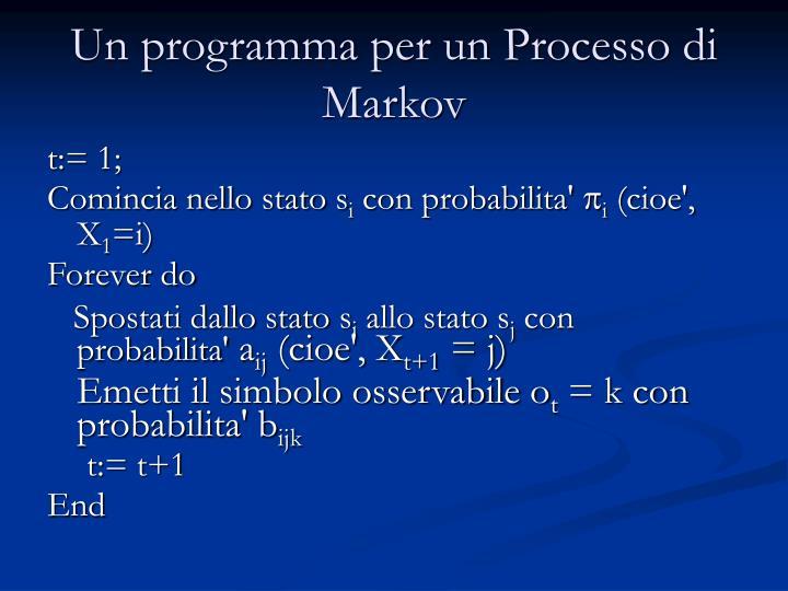 Un programma per un Processo di Markov