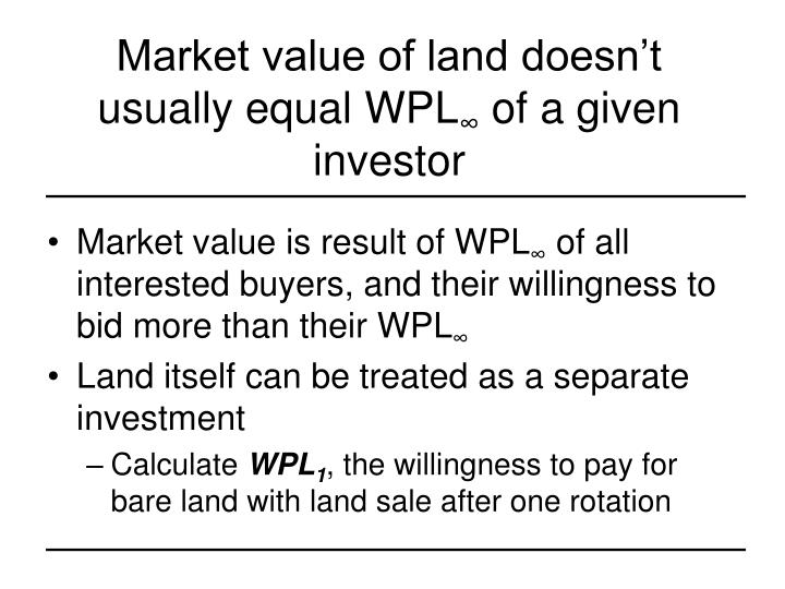 Market value of land doesn't usually equal WPL