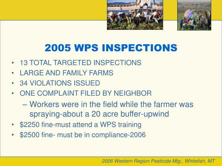2005 WPS INSPECTIONS
