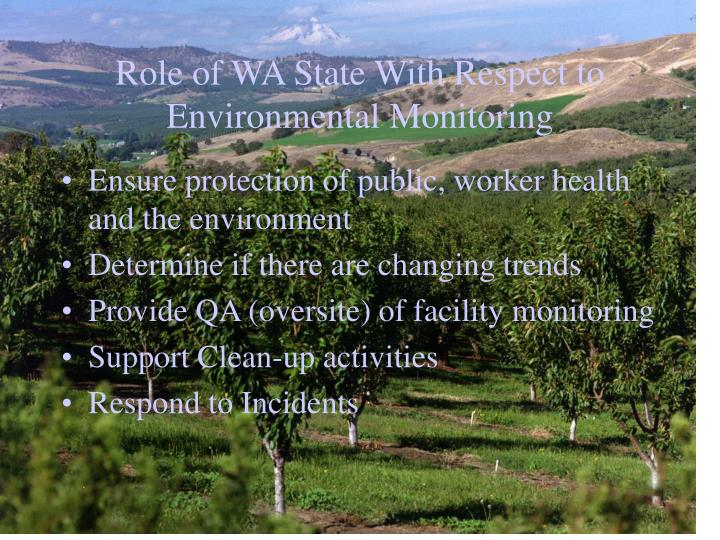Role of WA State With Respect to Environmental Monitoring