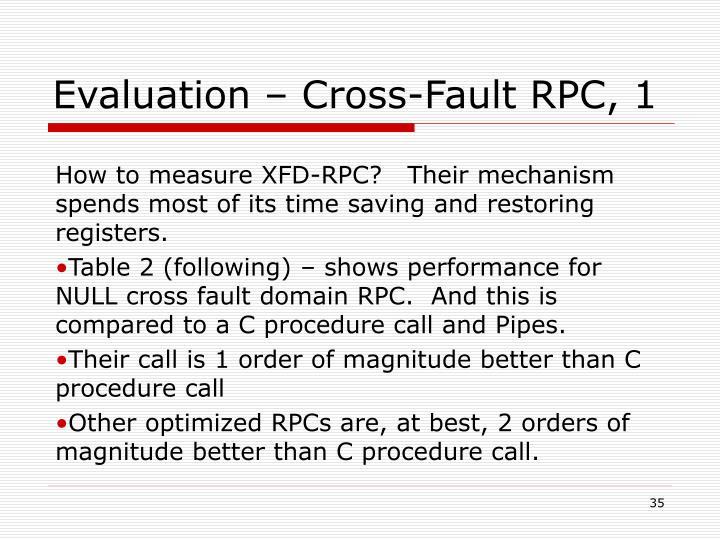 Evaluation – Cross-Fault RPC, 1