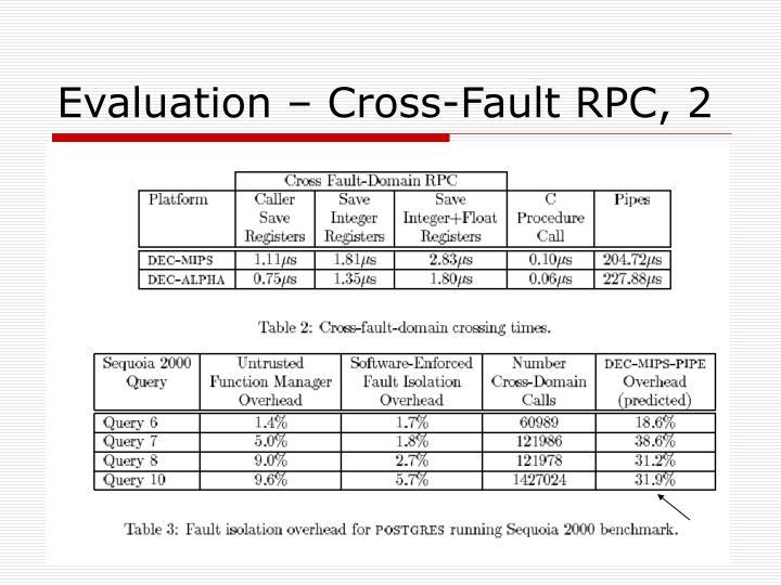 Evaluation – Cross-Fault RPC, 2