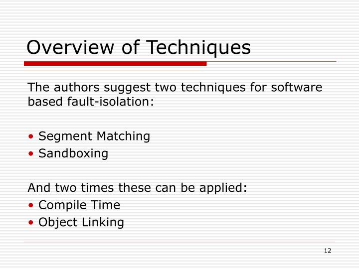 Overview of Techniques