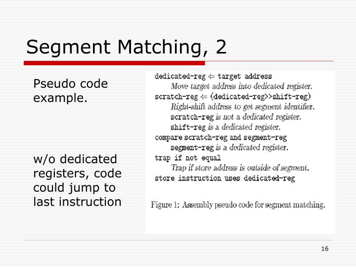 Segment Matching, 2