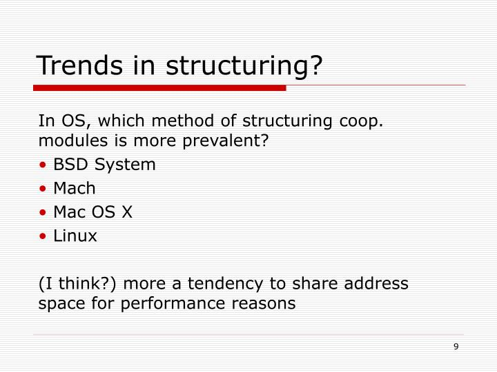 Trends in structuring?