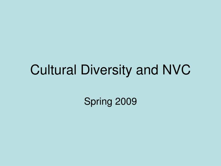 Cultural Diversity and NVC