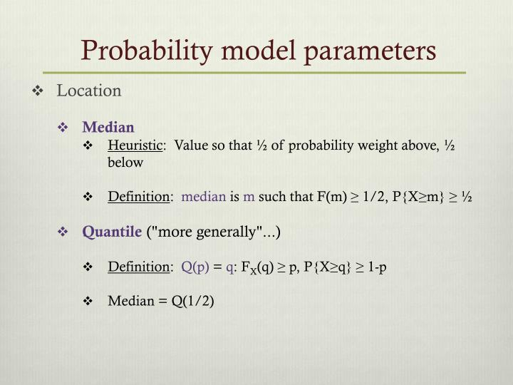 Probability model parameters
