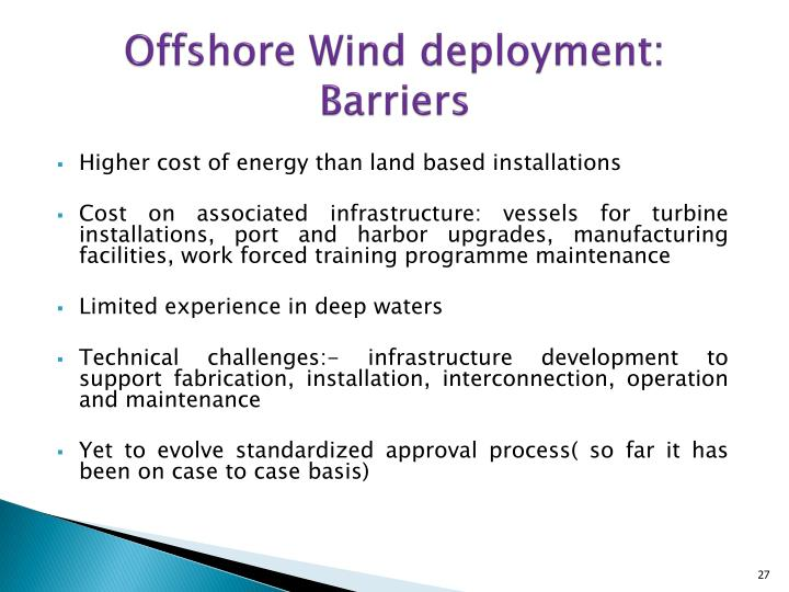 Offshore Wind deployment: Barriers