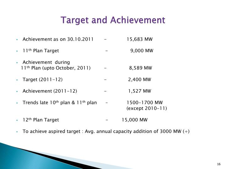 Target and Achievement