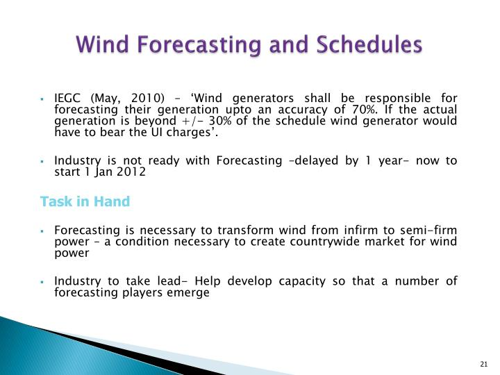 Wind Forecasting and Schedules