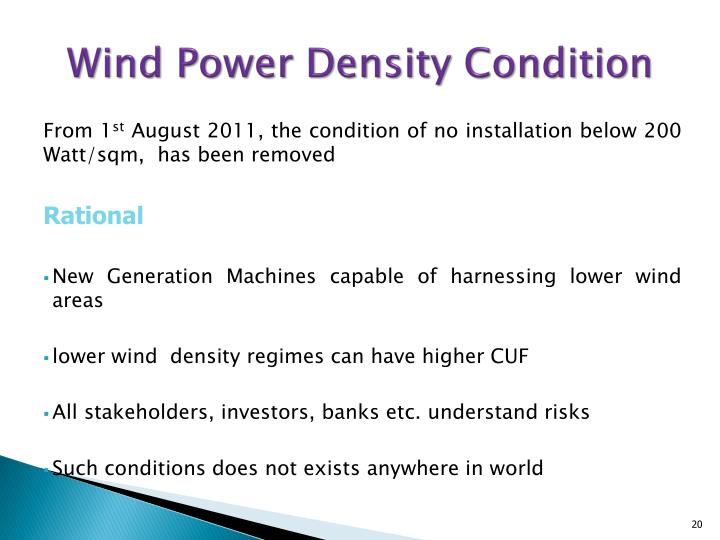 Wind Power Density Condition