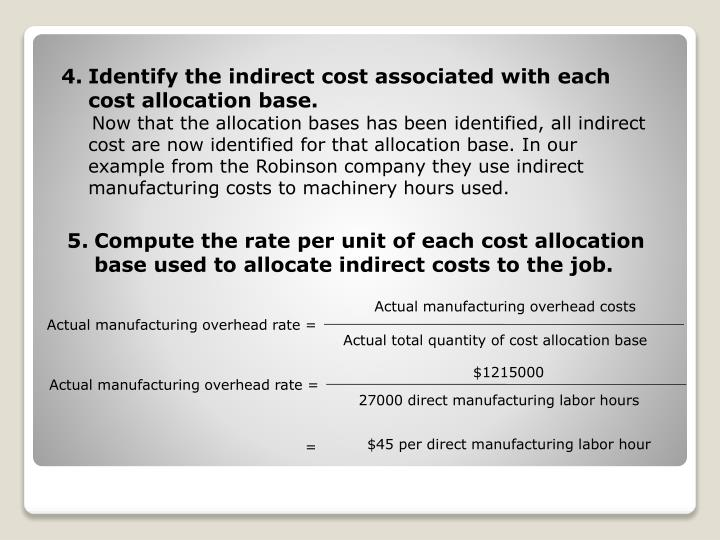 Identify the indirect cost associated with each cost allocation base.