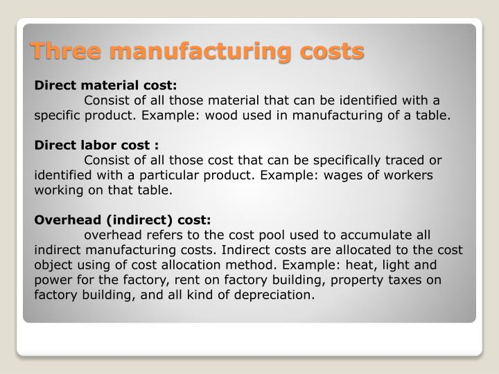 Three manufacturing costs