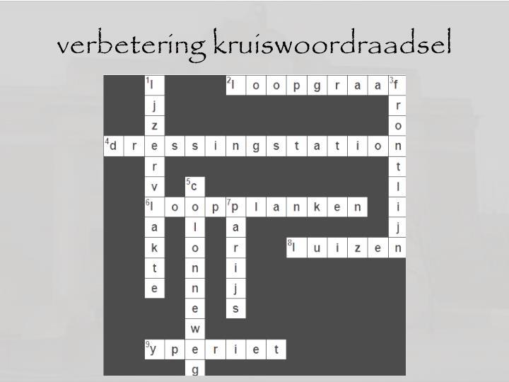 verbetering kruiswoordraadsel