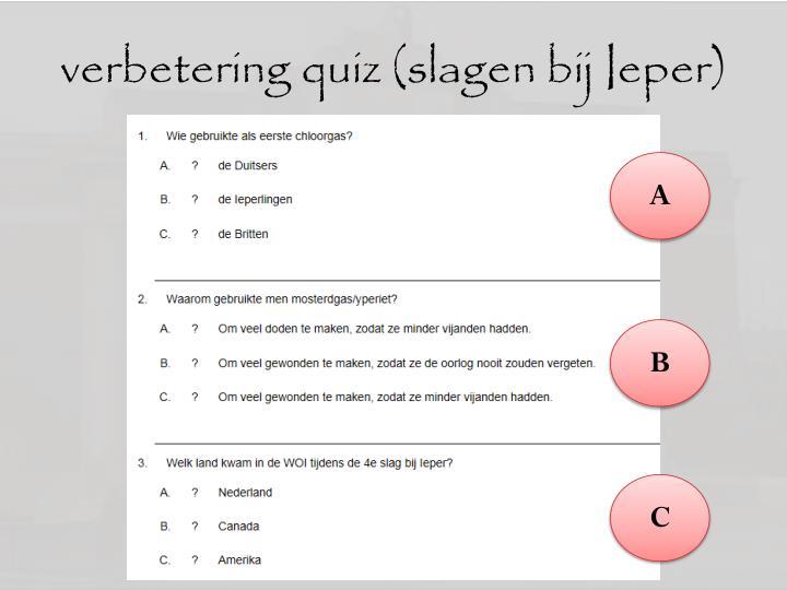 verbetering quiz (slagen bij Ieper)