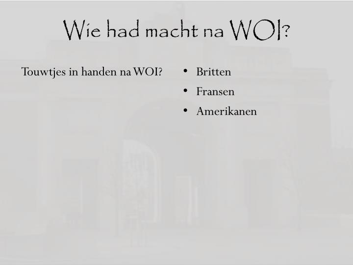 Wie had macht na WOI?