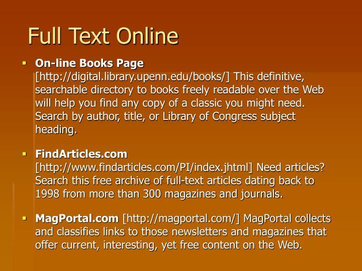 Full Text Online