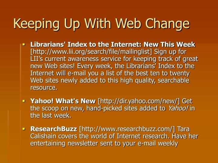 Keeping Up With Web Change