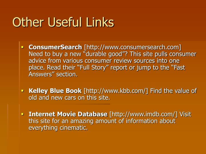 Other Useful Links