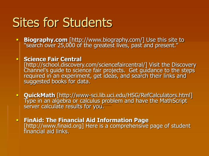 Sites for Students