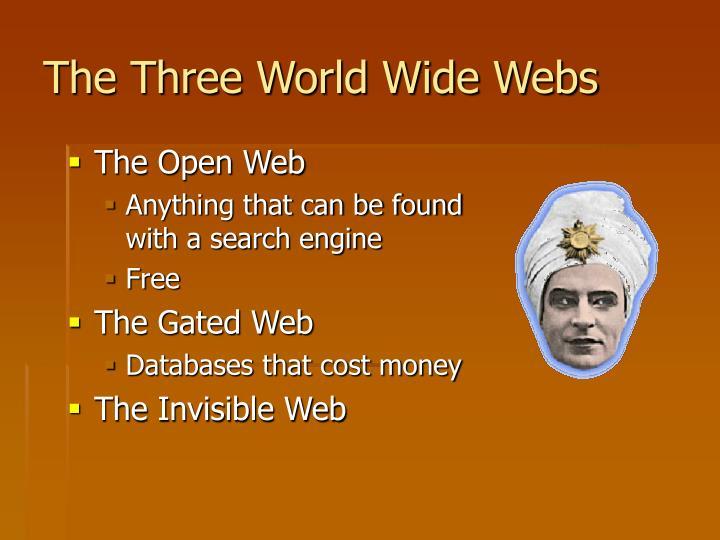 The Three World Wide Webs