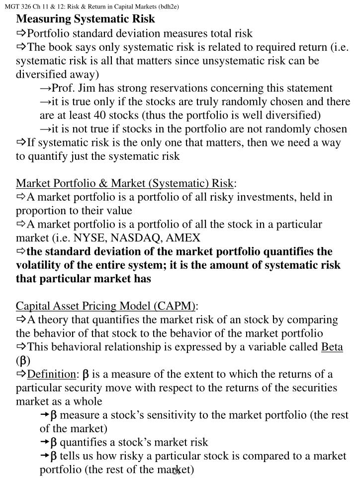 MGT 326 Ch 11 & 12: Risk & Return in Capital Markets (bdh2e)