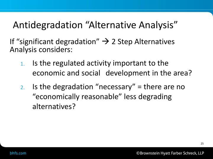 "Antidegradation ""Alternative Analysis"""