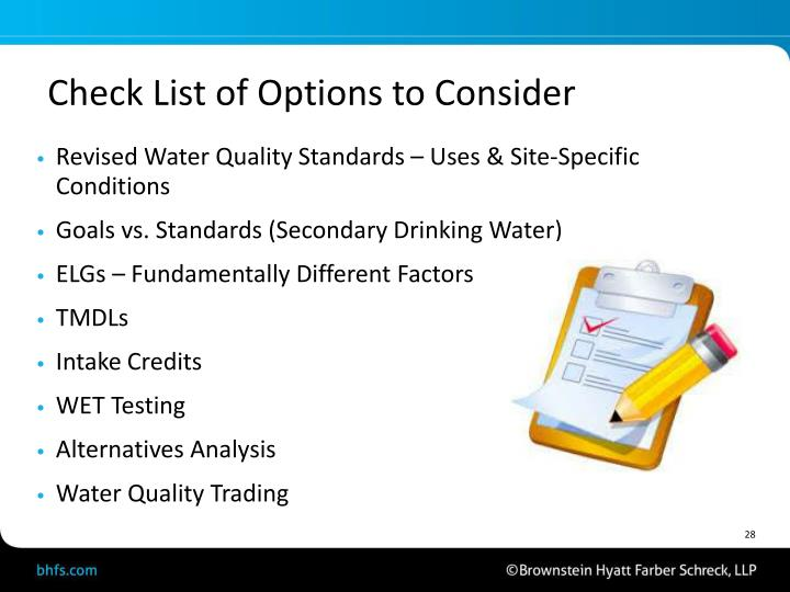 Check List of Options to Consider