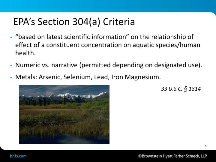 EPA's Section 304(a) Criteria