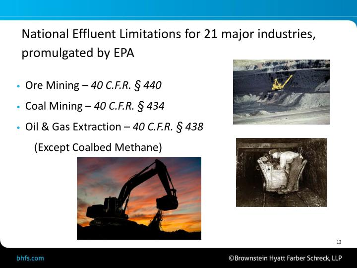 National Effluent Limitations for 21 major industries, promulgated by EPA