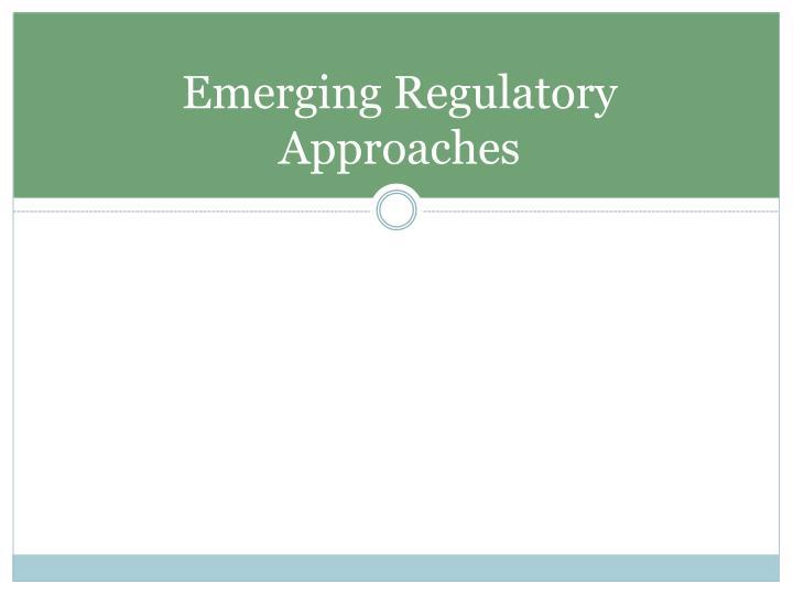 Emerging Regulatory Approaches