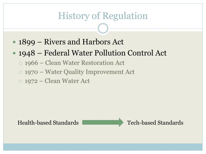 History of Regulation