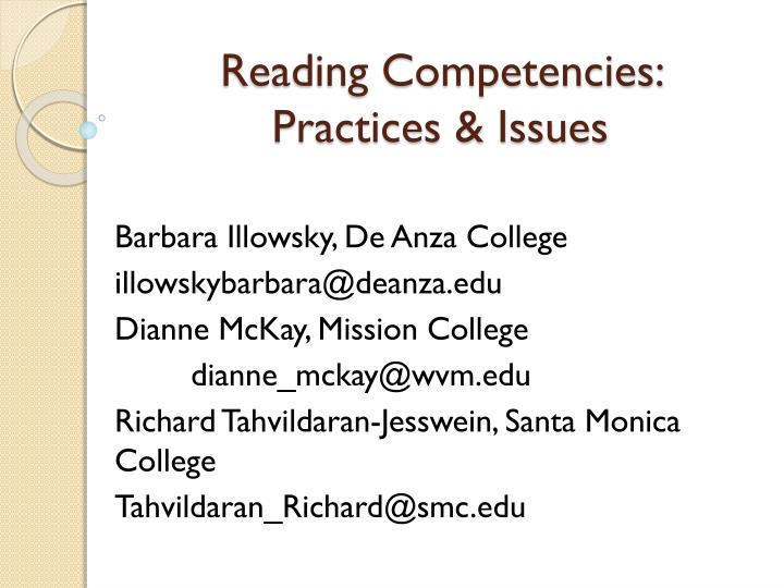 Reading competencies practices issues