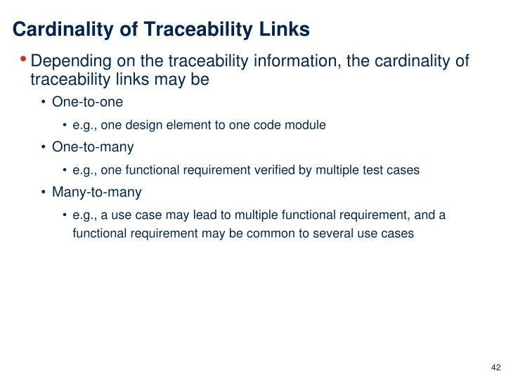 Cardinality of Traceability Links