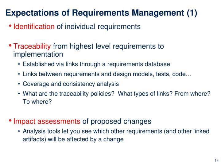 Expectations of Requirements Management (1)