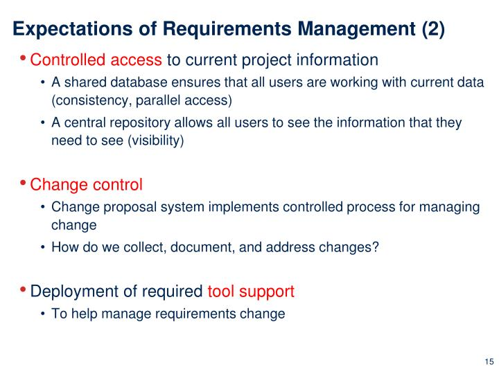 Expectations of Requirements Management (2)