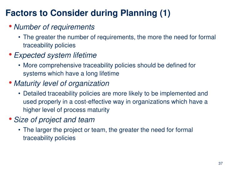 Factors to Consider during Planning (1)