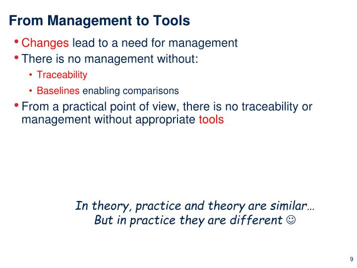 From Management to Tools