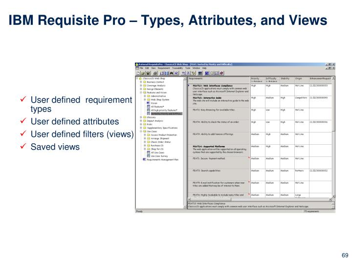 IBM Requisite Pro – Types, Attributes, and Views