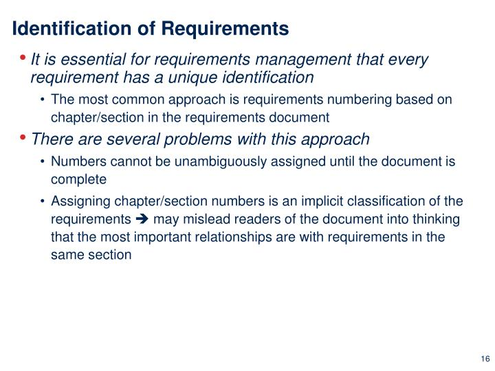 Identification of Requirements