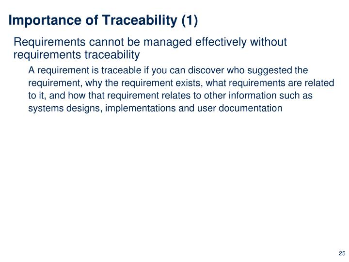 Importance of Traceability (1)