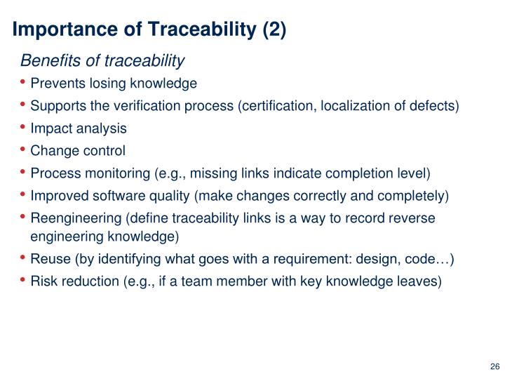 Importance of Traceability (2)