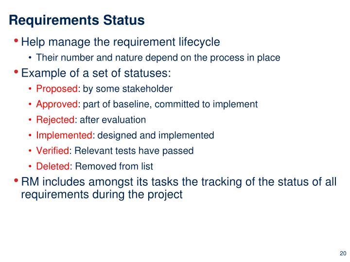 Requirements Status
